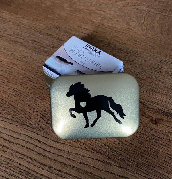 Melasól Seifendose gold Tölteraufdruck Pferdeseife