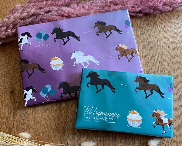 Melasól Equisigned Geschenkpapier Motiv Horsecolor birthday mit Tölter